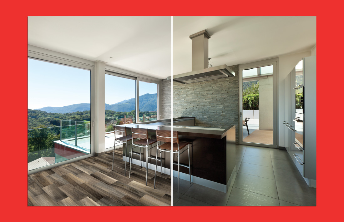 Before and after example of a room scene where Anatolia Tile + Stone's product has been digitally placed into the room