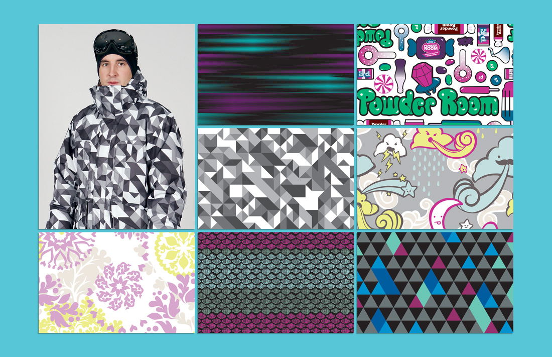 Textile designs. All over prints.